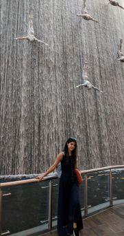 Dubai Waterfall inside Dubai Mall